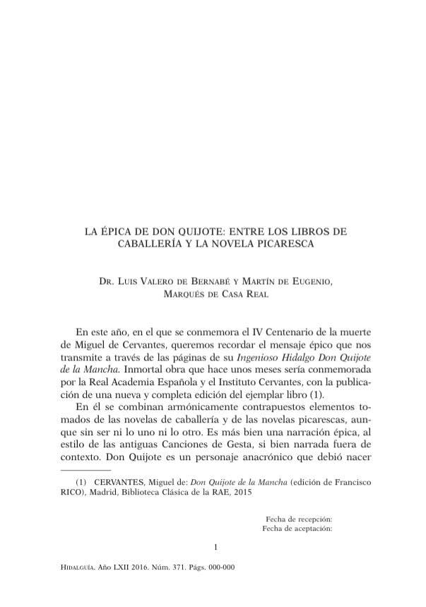 La épica de Don Quijote entre los libros de caballería y la novela picaresca.