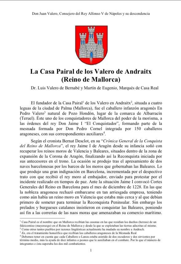 La Casa Pairal de los Valero de Andraitx (Reino de Mallorca)