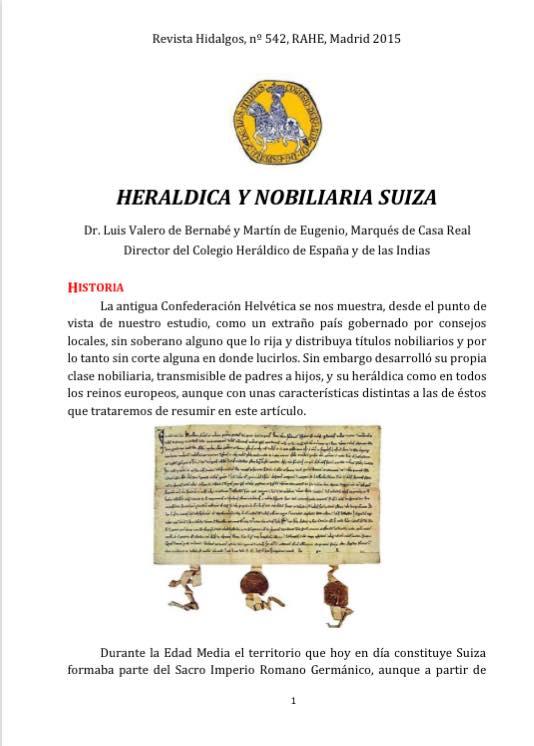 La Nobleza ciudadana y su heráldicaSuiza