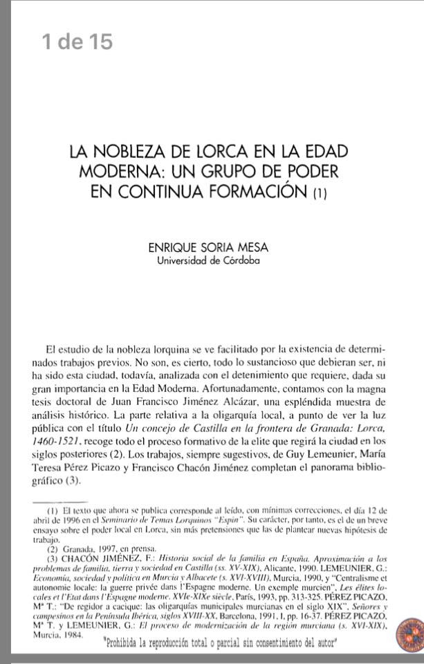 La nobleza de Lorca en la Edad Moderna un grupo de poder en formación continua