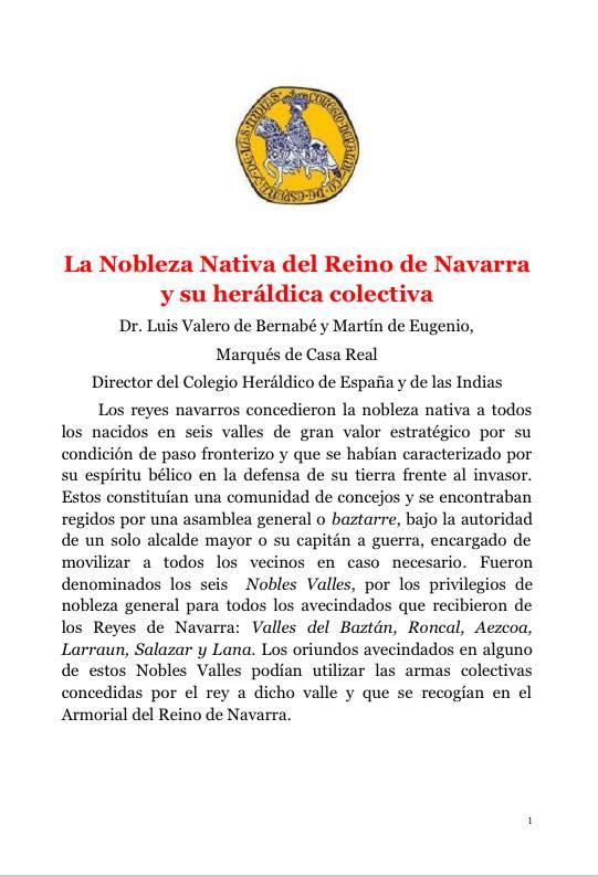 La Nobleza Nativa del Reino de Navarra y su heráldica colectiva