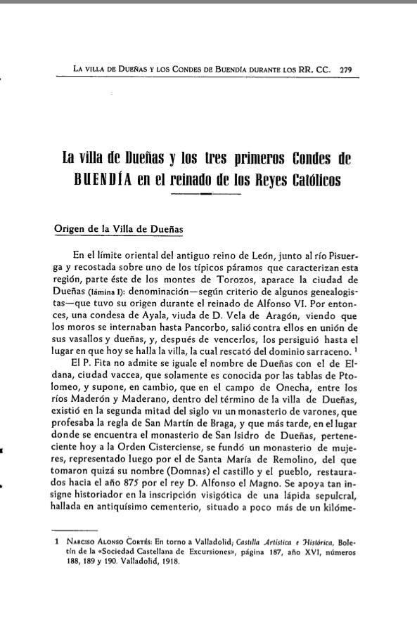 La villa de Dueñas y los tres primeros Condes de Buendía en el reinado de los Reyes Católicos