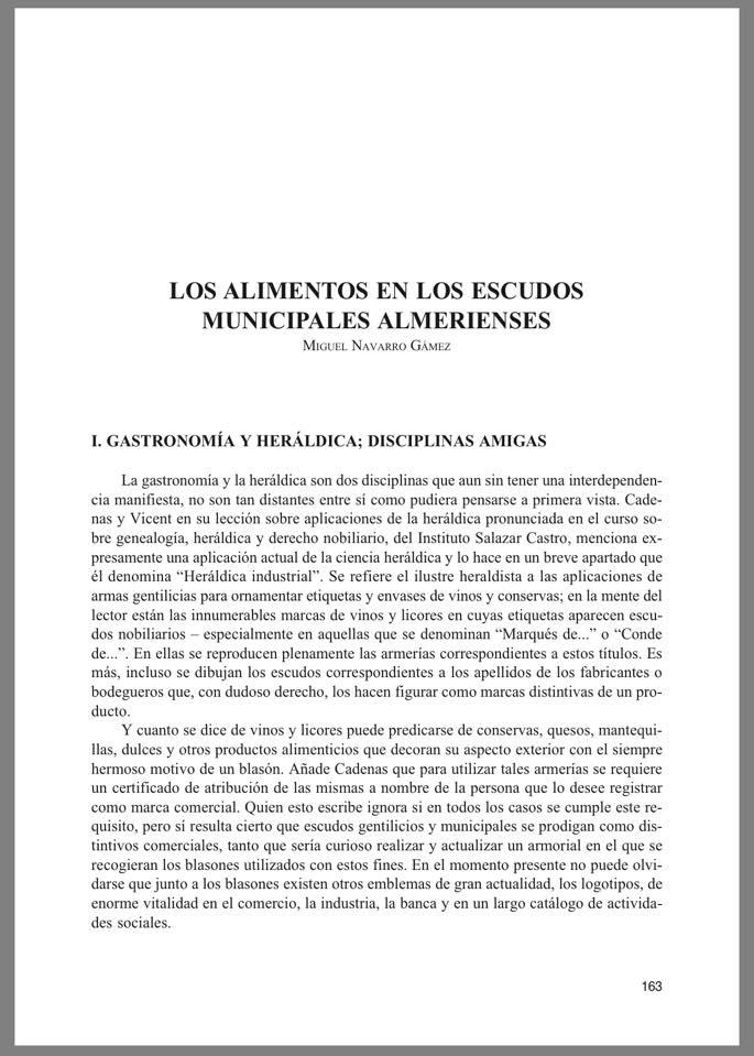 Los Alimentos en los Escudos Municipales Almerienses.