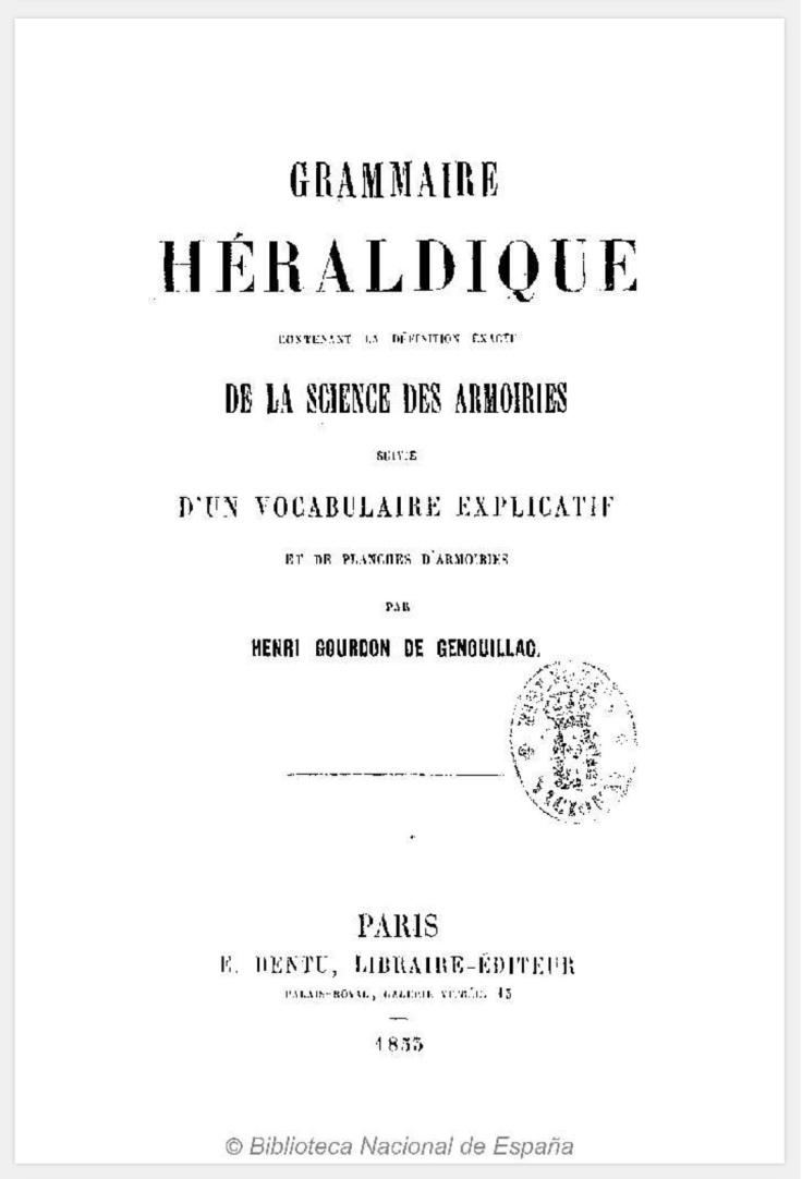 Grammaire Héraldique biblioteca genealógica heráldica y nobiliaria