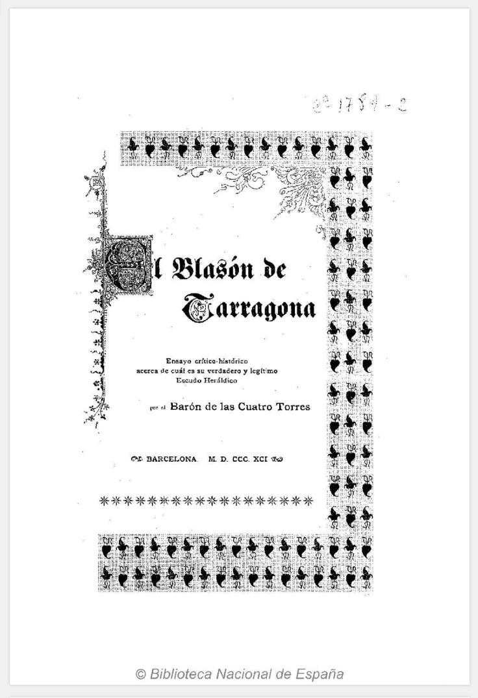 El Blasón de Tarragona. Biblioteca genealógica heráldica y nobiliaria